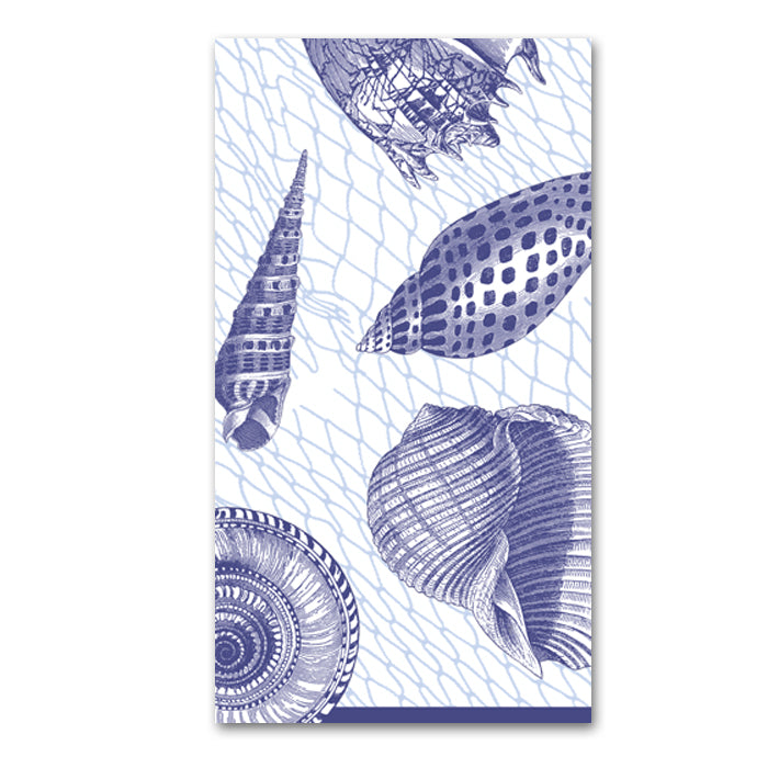 Netting and Shells Blue Paper Guest Towels - Buffet Napkin
