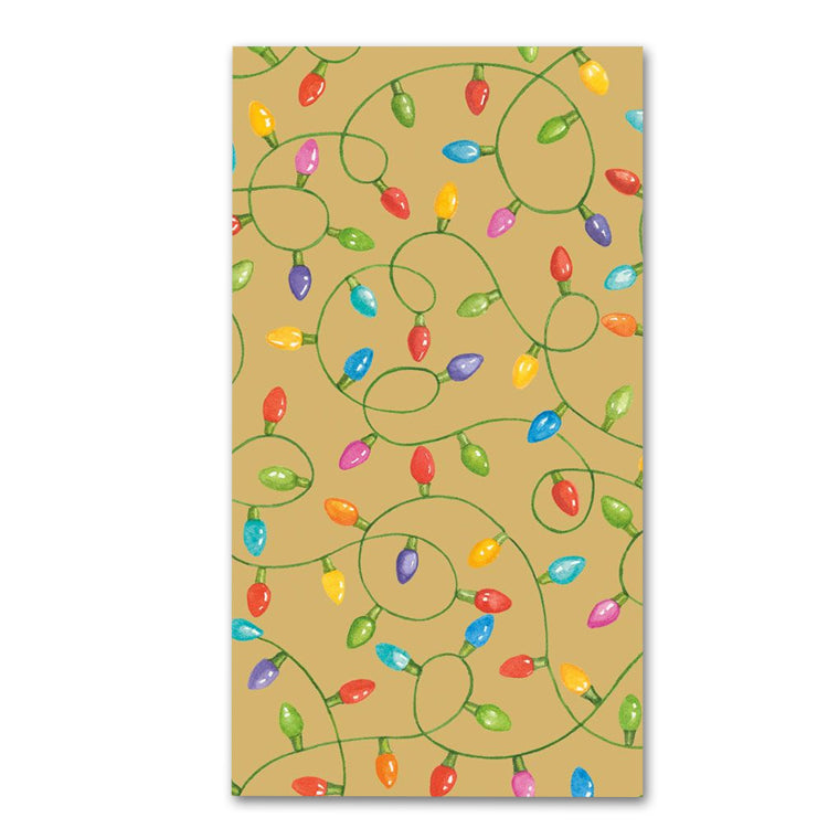 Christmas Lights Paper Guest Towels - Buffet Napkins - Gold