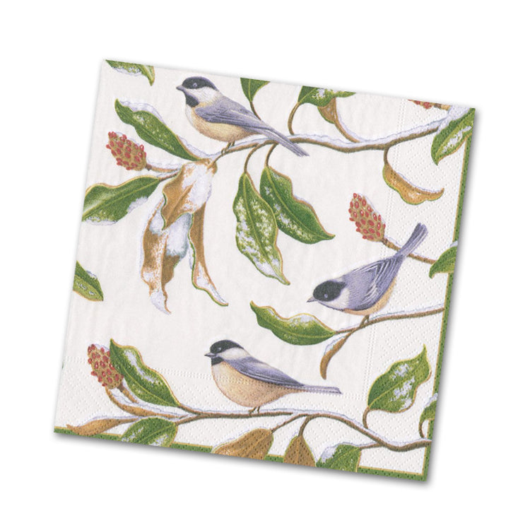 Chickadee and Magnolia Ivory Beverage Napkins