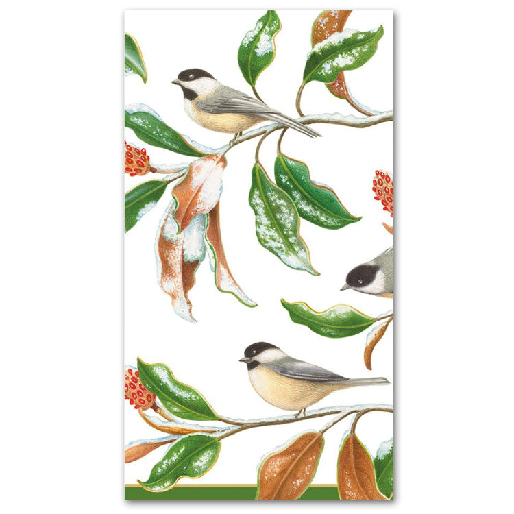 Chickadee and Magnolia Paper Guest Towels - Buffet Napkins