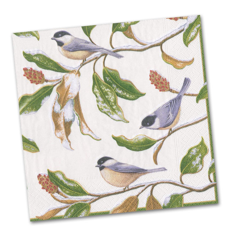 Chickadee and Magnolia Ivory Luncheon Napkins