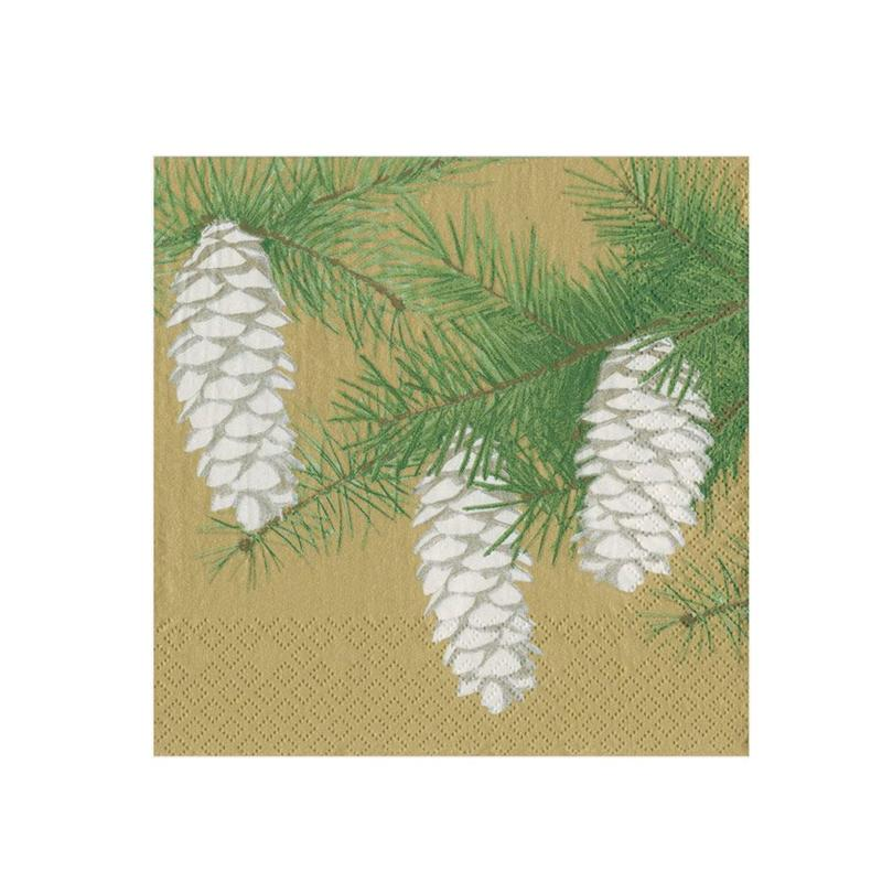 Pinecones Gold Paper Napkins - Beverage