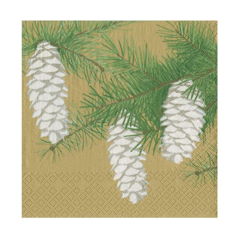 Pinecones Gold Paper Napkins - Luncheon