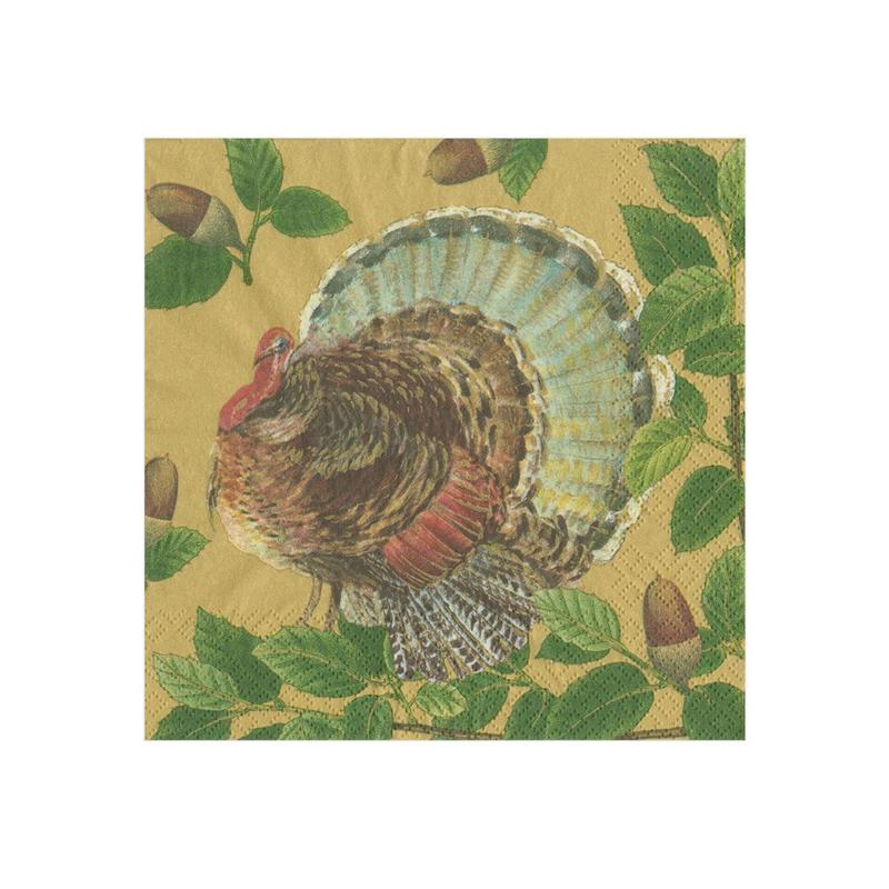 Turkey and Acorns Paper Napkins - Beverage