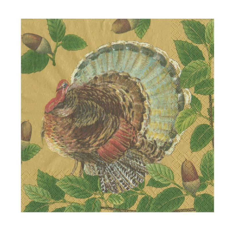Turkey and Acorns Paper Napkins - Luncheon