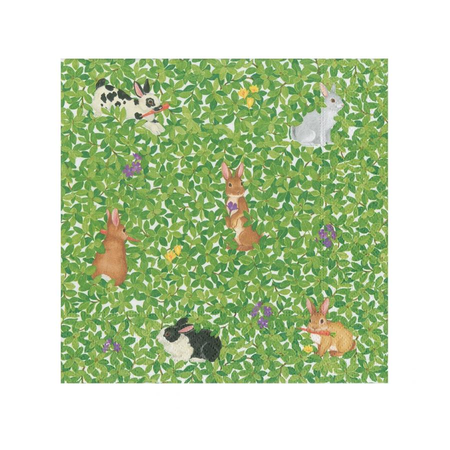 Bunnies and Boxwood Beverage Napkins