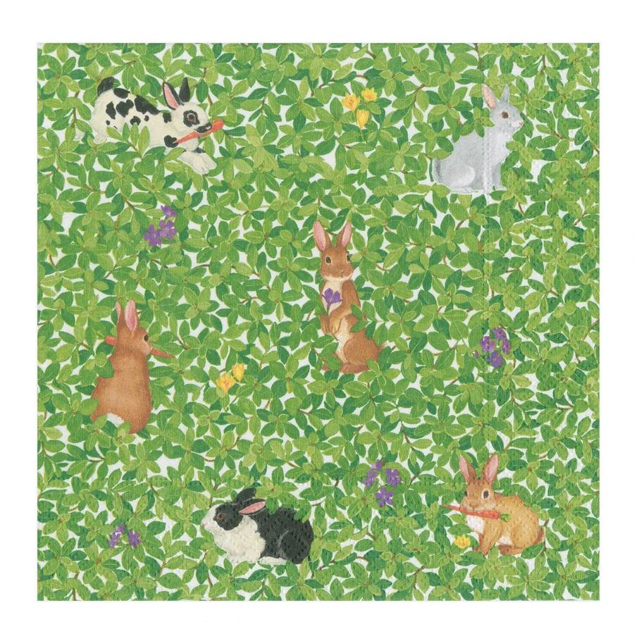 Bunnies and Boxwood Luncheon Napkins