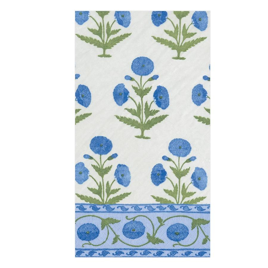 Indian Poppy Blue Paper Guest Towels - Buffet Napkins