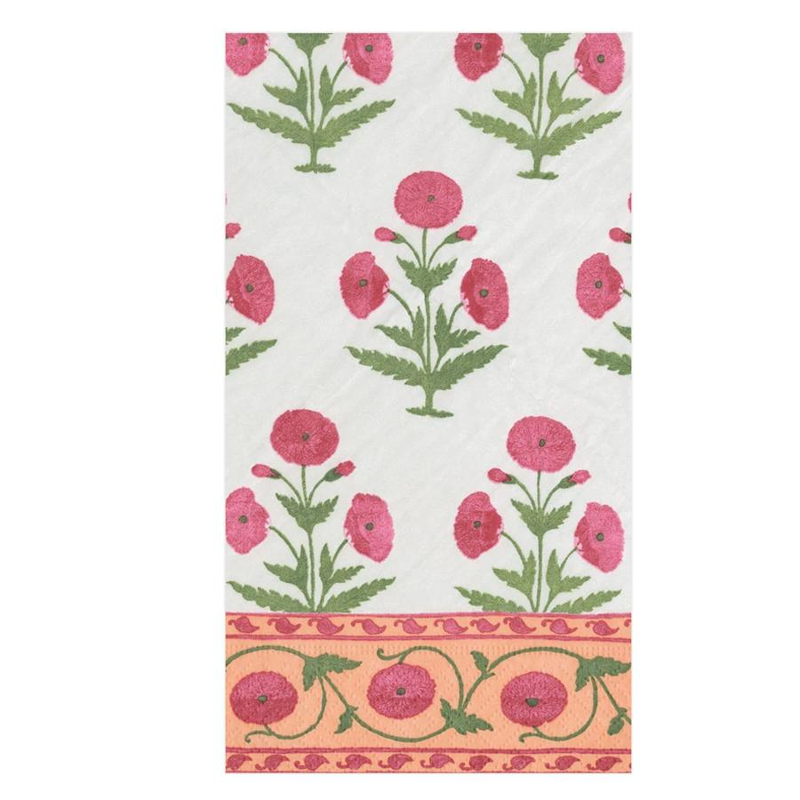 Indian Poppy Fushsia Paper Guest Towels - Buffet Napkins
