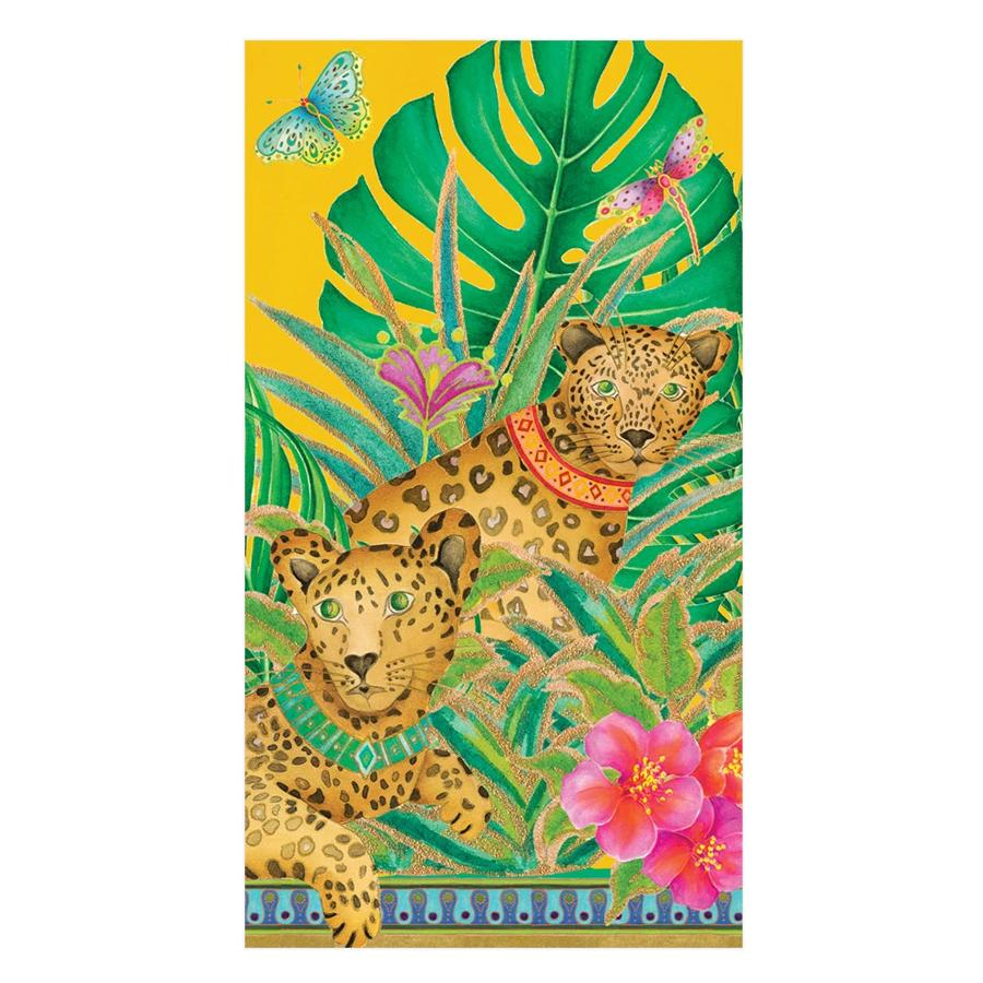 Leopards in Yellow Paper Guest Towels - Buffet Napkins