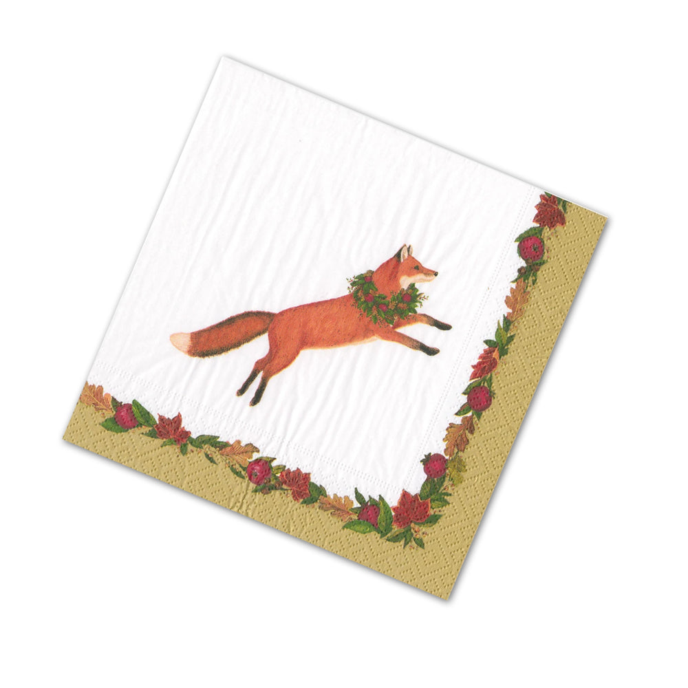 Leaping Fox Fall Foliage Paper Beverage Napkins