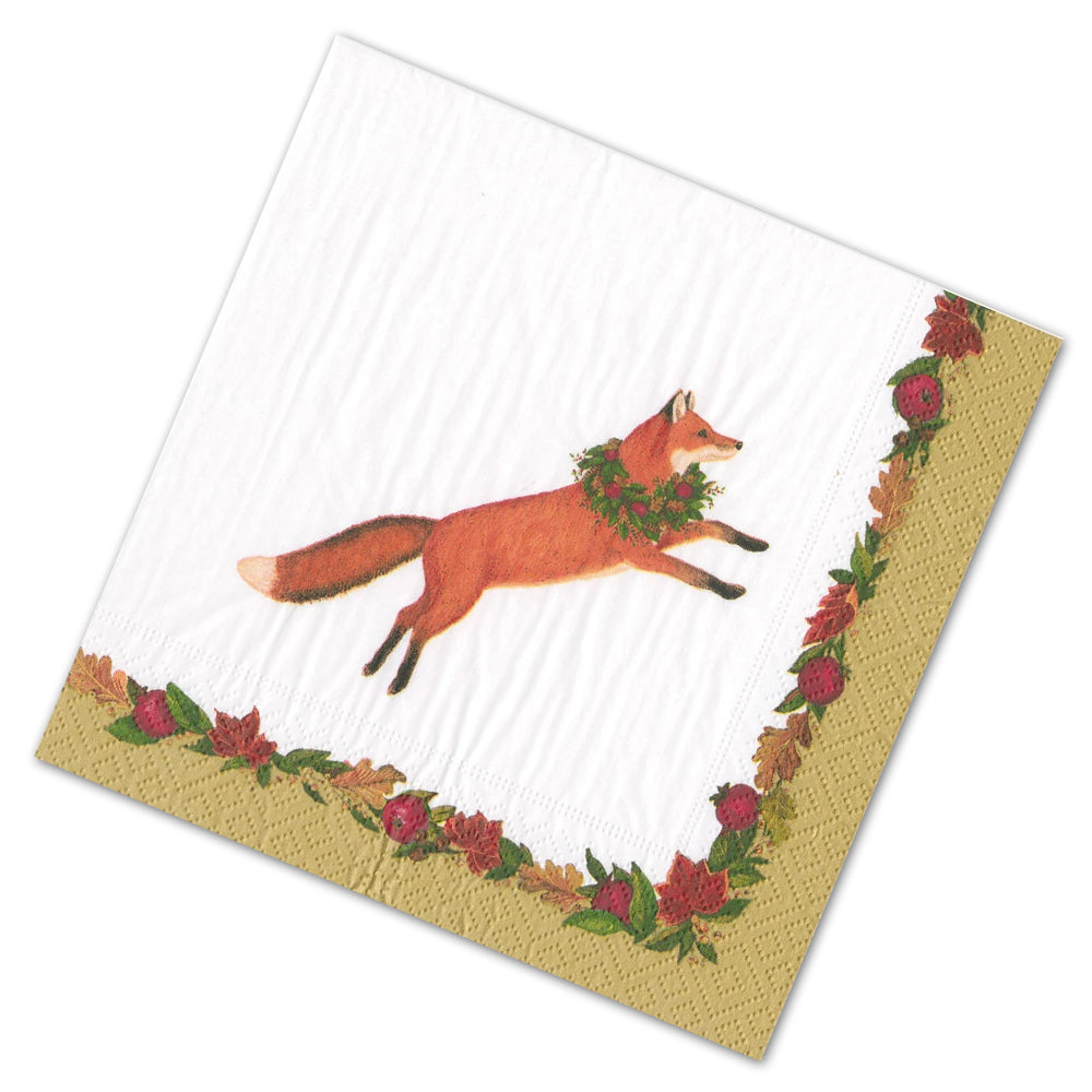Leaping Fox Fall Foliage Paper Luncheon Napkins