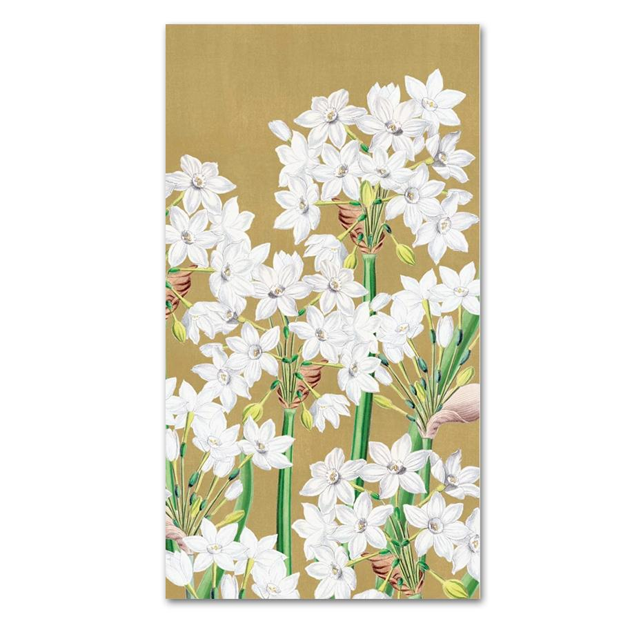 Paperwhites in Gold Paper Guest Towels - Buffet Napkins