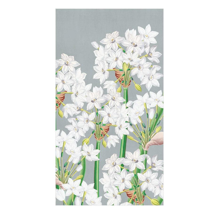 Paperwhites in Silver Paper Guest Towels - Buffet Napkins