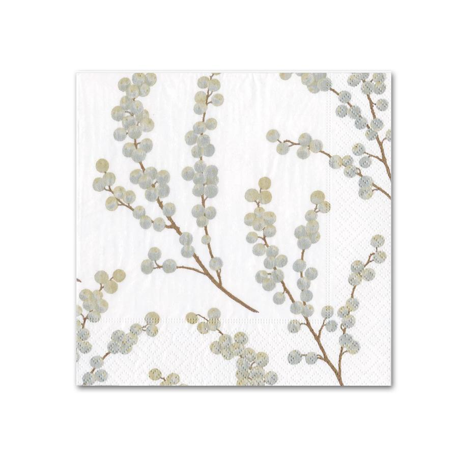 Berry Branches White Silver Paper Beverage Napkins