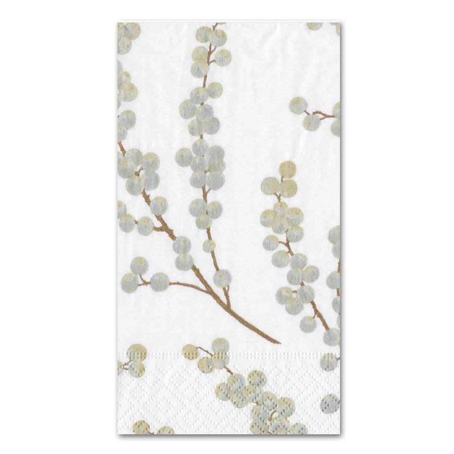 Berry Branches White Silver Paper Guest Towels - Buffet Napkins