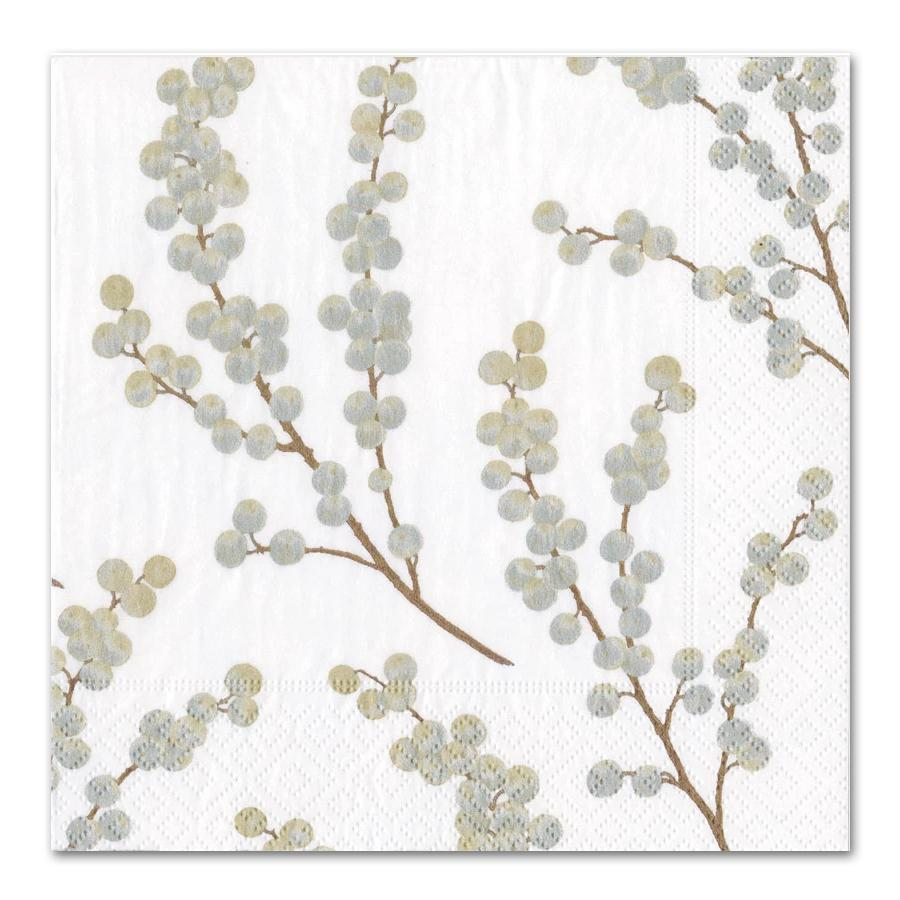 Berry Branches White Silver Paper Luncheon Napkins