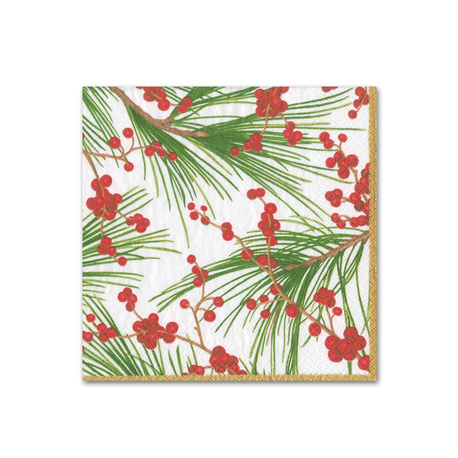 Berries and Pine Paper Beverage Napkins