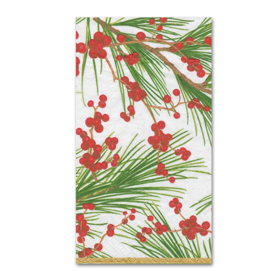 Berries and Pine Paper Guest Towels - Buffet Napkins