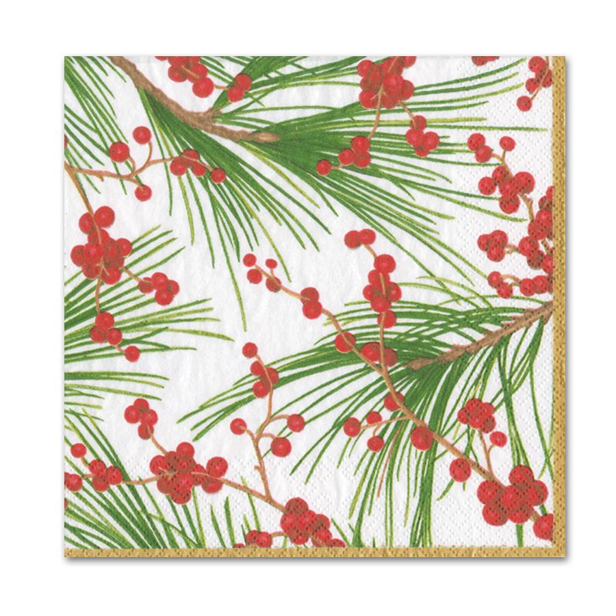 Berries and Pine Paper Luncheon Napkins