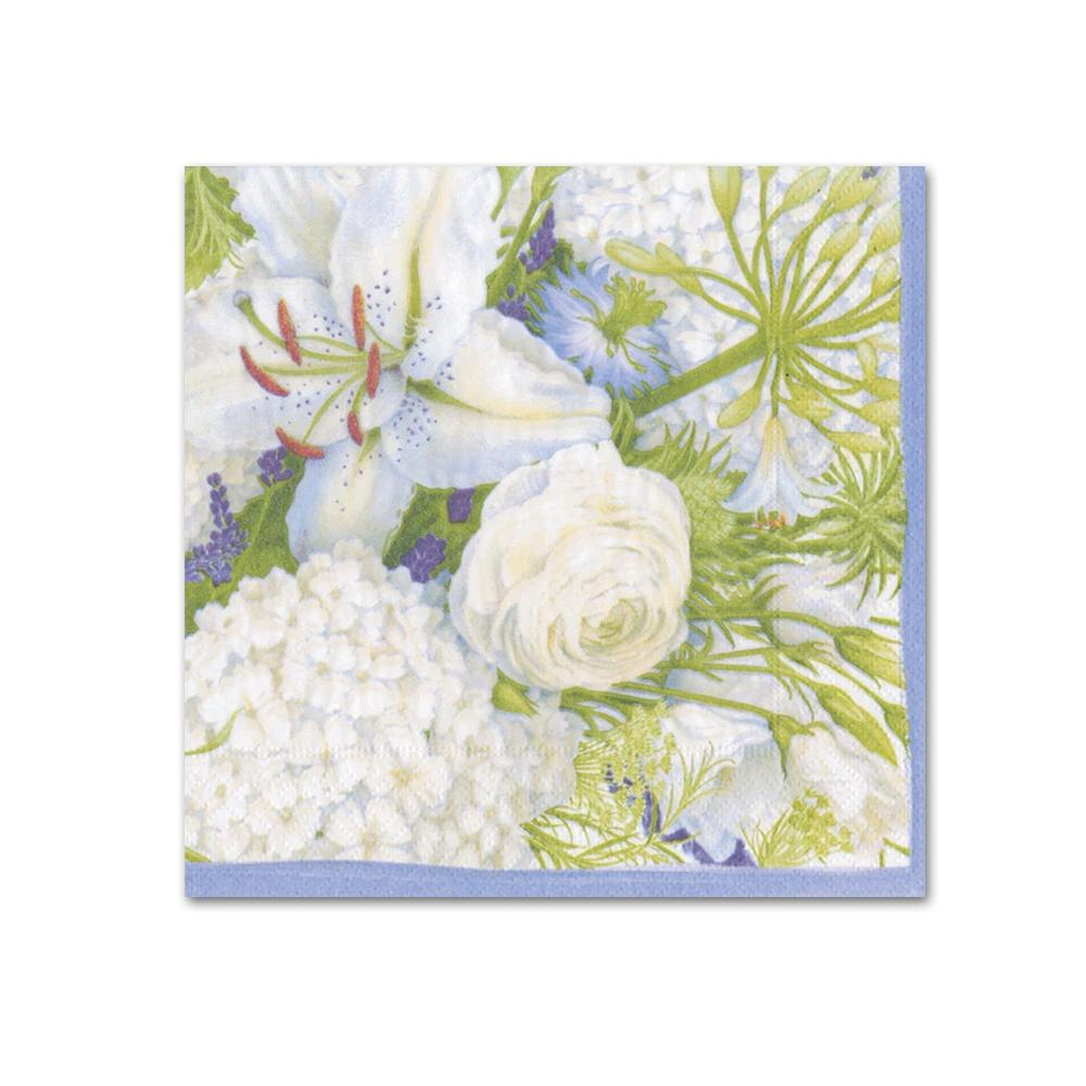 White Blooms Paper Beverage Napkins