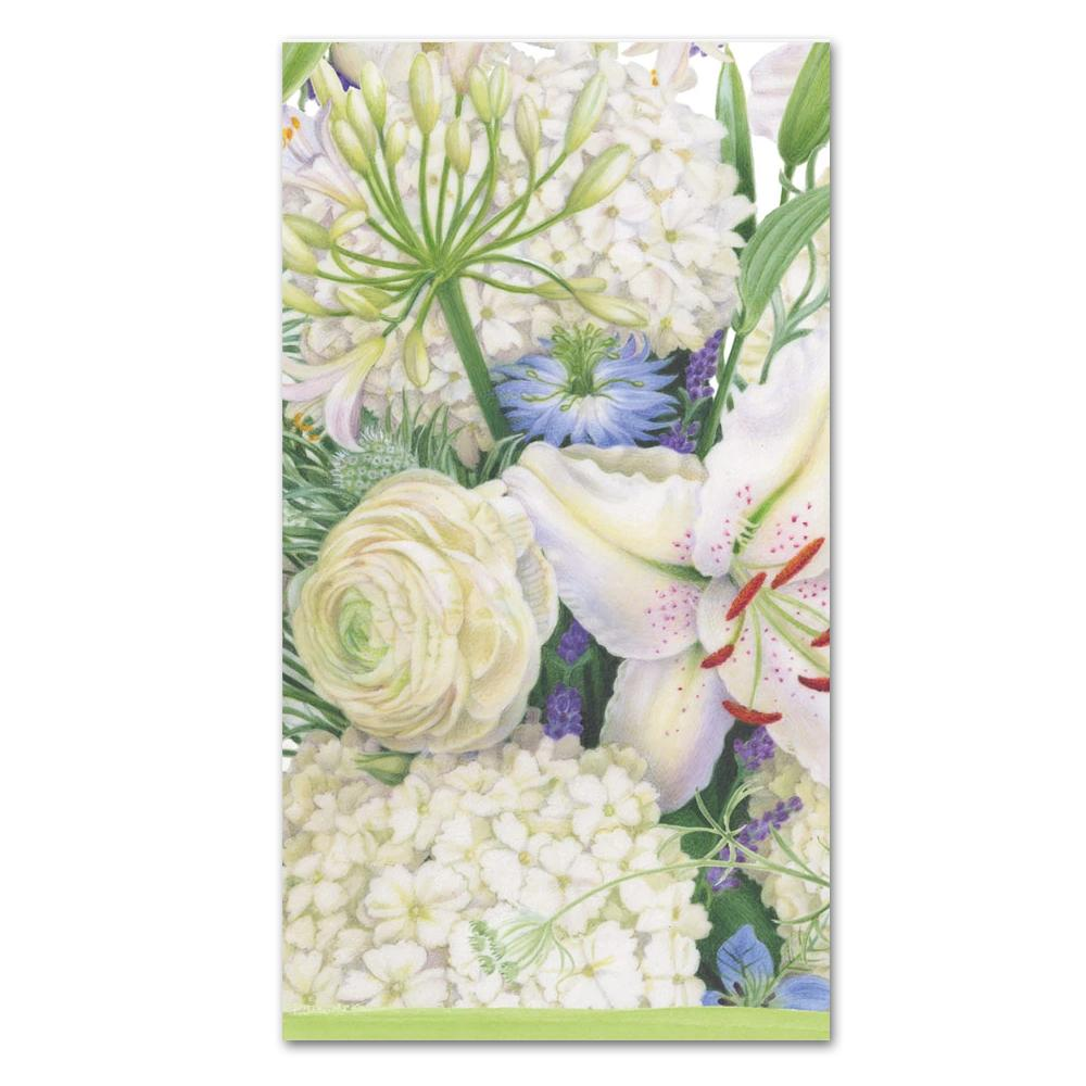 White Blooms Paper Guest Towels - Buffet Napkins