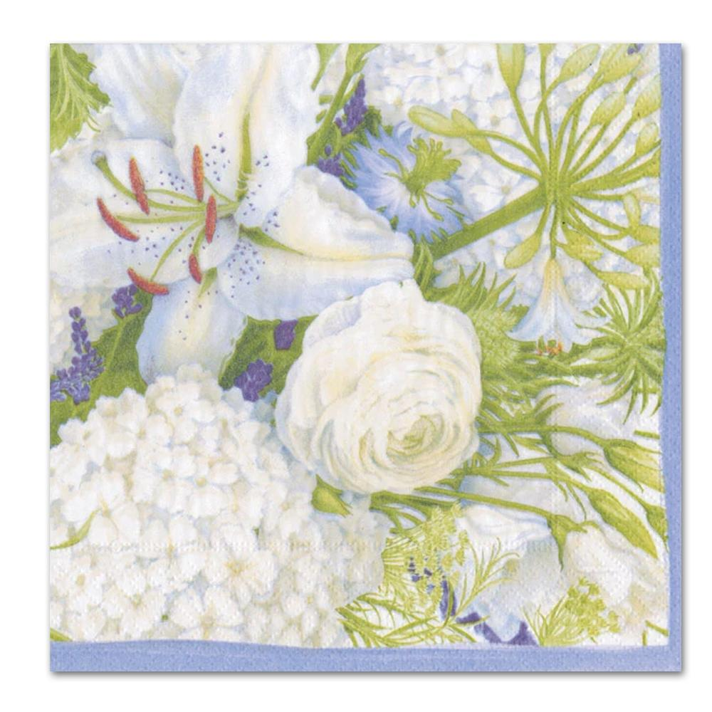 White Blooms Paper Luncheon Napkins