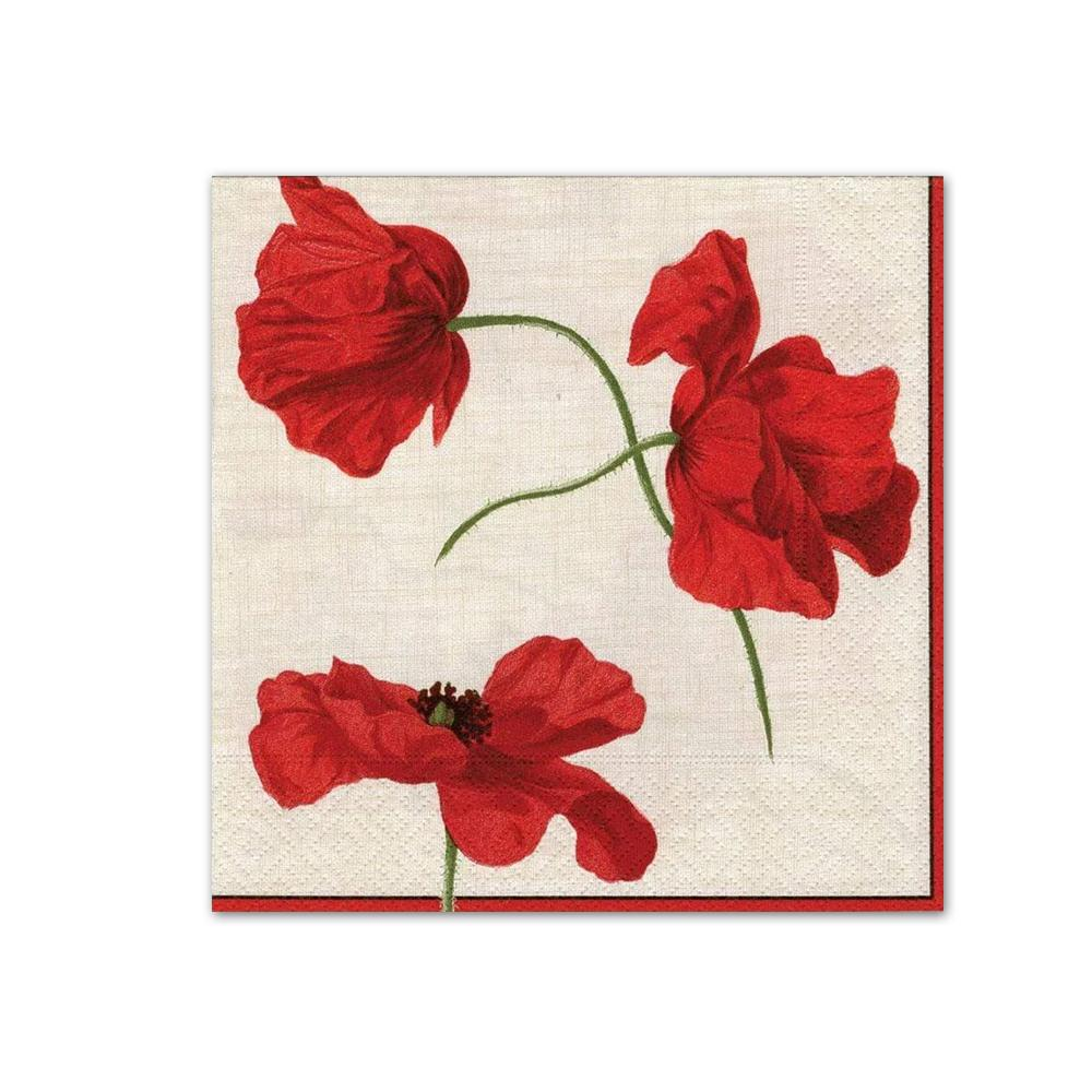Dancing Poppies Ivory Paper Beverage Napkins