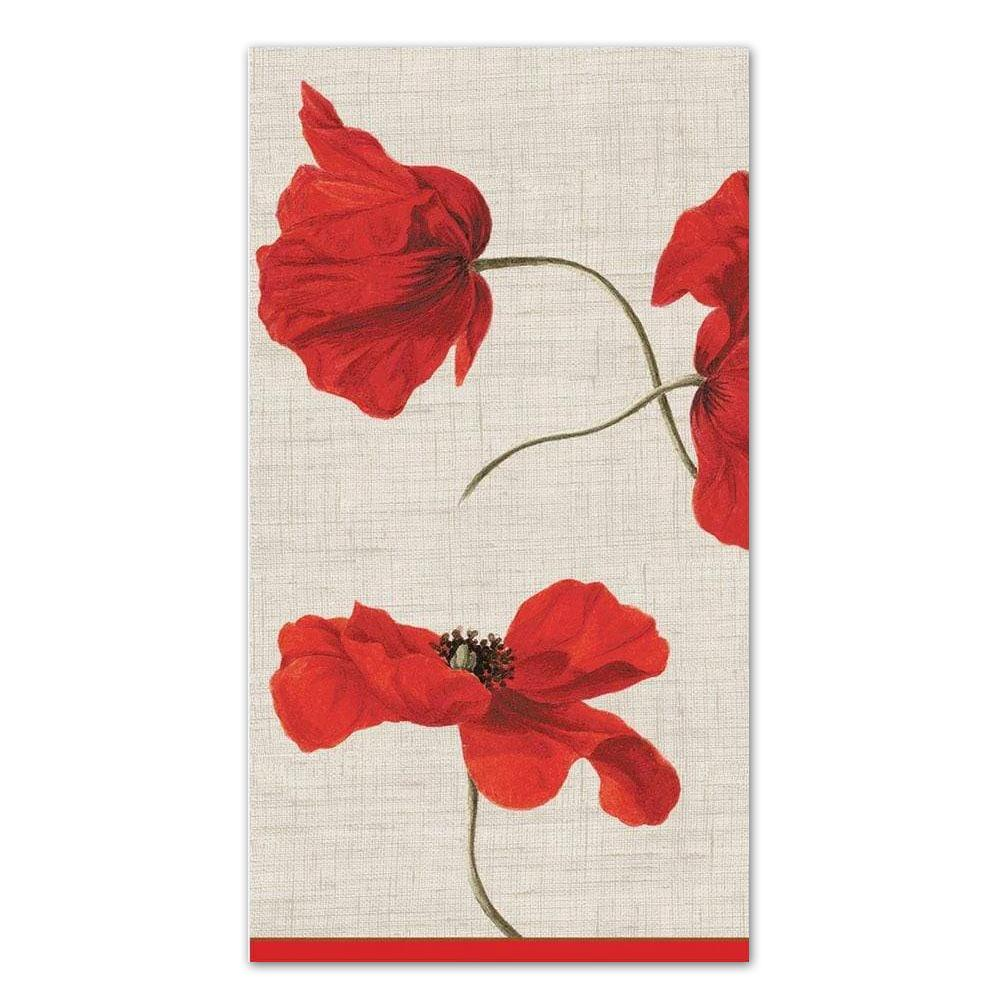 Dancing Poppies Ivory Paper Guest Towels - Buffet Napkins