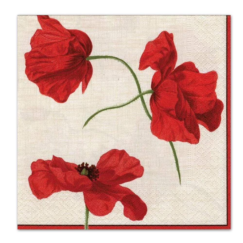 Dancing Poppies Ivory Paper Luncheon Napkins