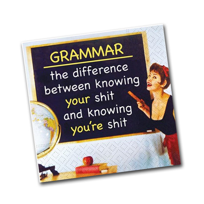 Grammar Funny Cocktail Napkin