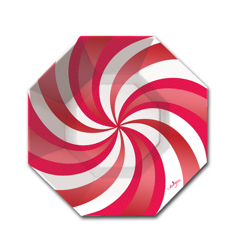 Peppermint Swirl Shaped Dessert Plate