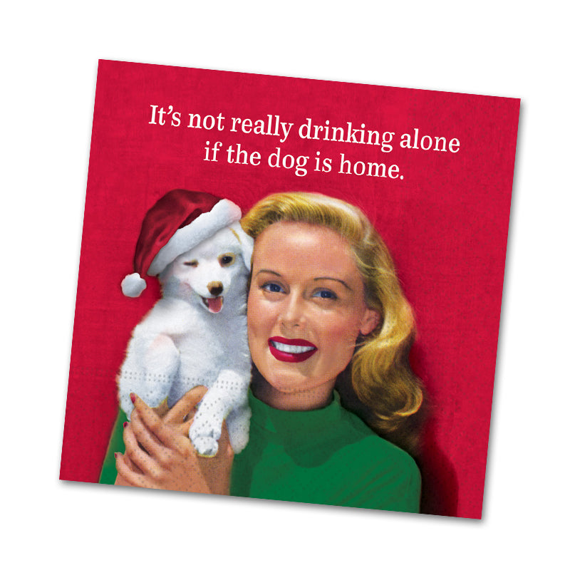 Drinking Alone With Dog Funny Cocktail Napkins