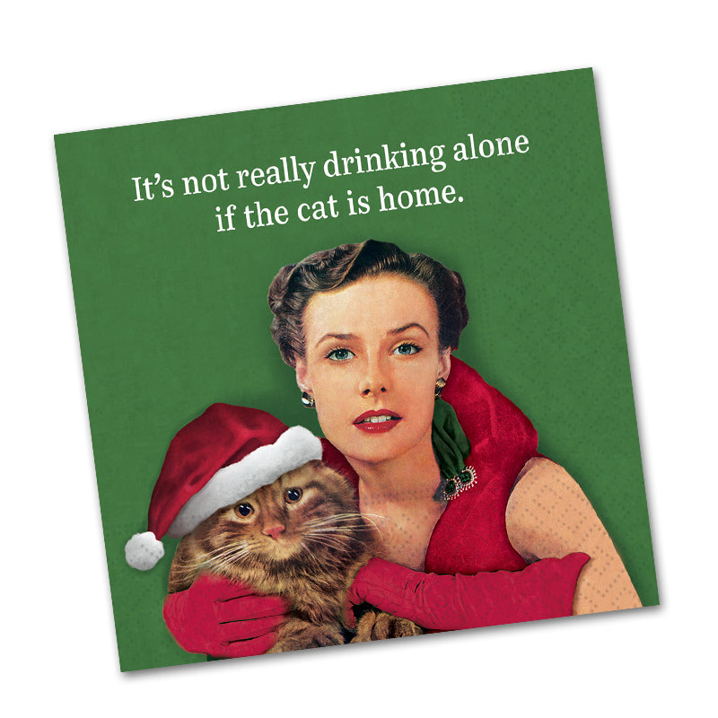 Drinking Alone With Cat Funny Cocktail Napkins