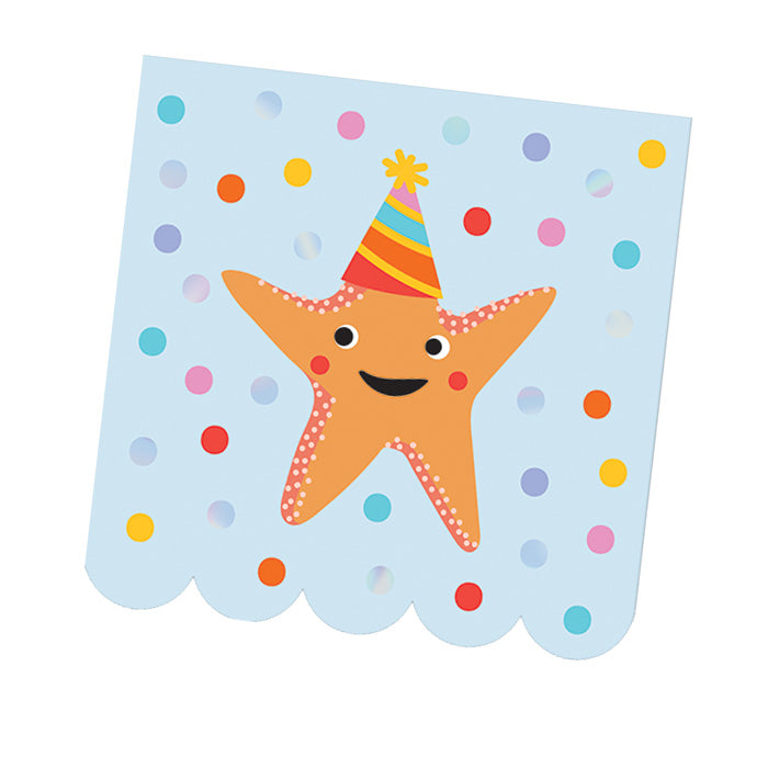 Birthday Splash Paper Beverage Napkins - Foil Stamped