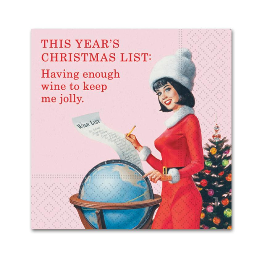This Years Christmas List, Funny Cocktail Napkins