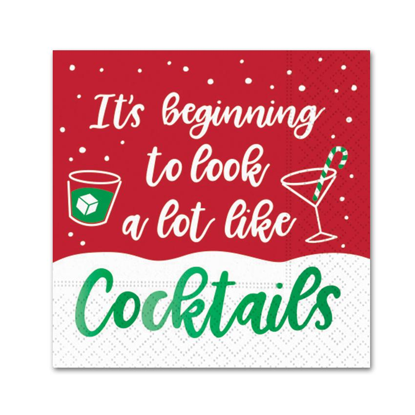 Look A Lot Like Cocktails, Funny Cocktail Napkins - Foil Stamped