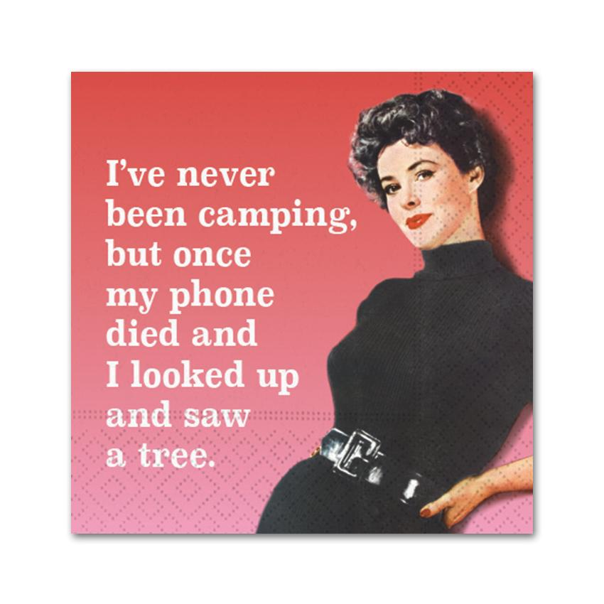 Never Been Camping, Funny Cocktail Napkins