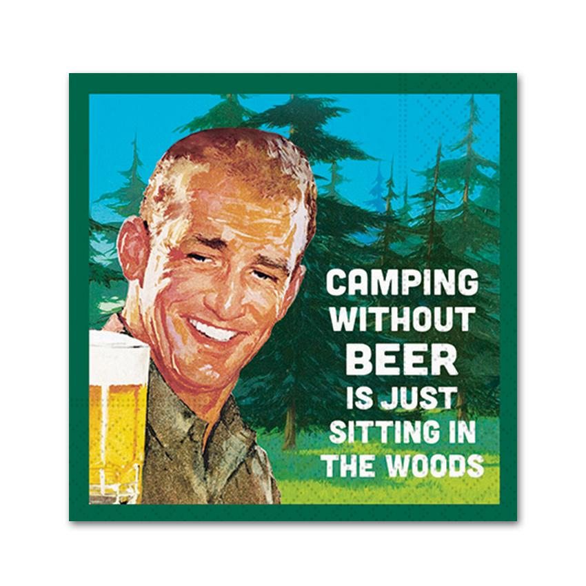 Camping Without Beer, Funny Cocktail Napkins