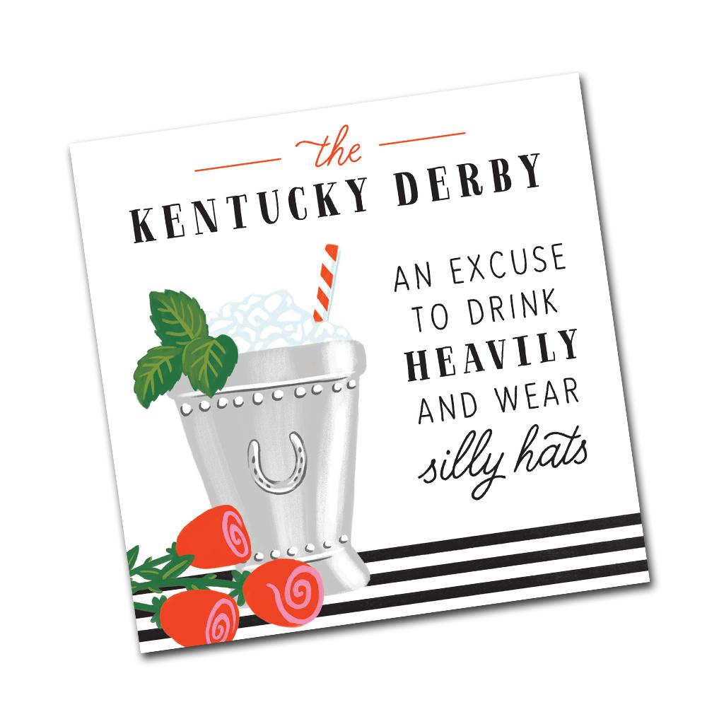 Wear Silly Hats, Kentucky Derby Beverage Napkin