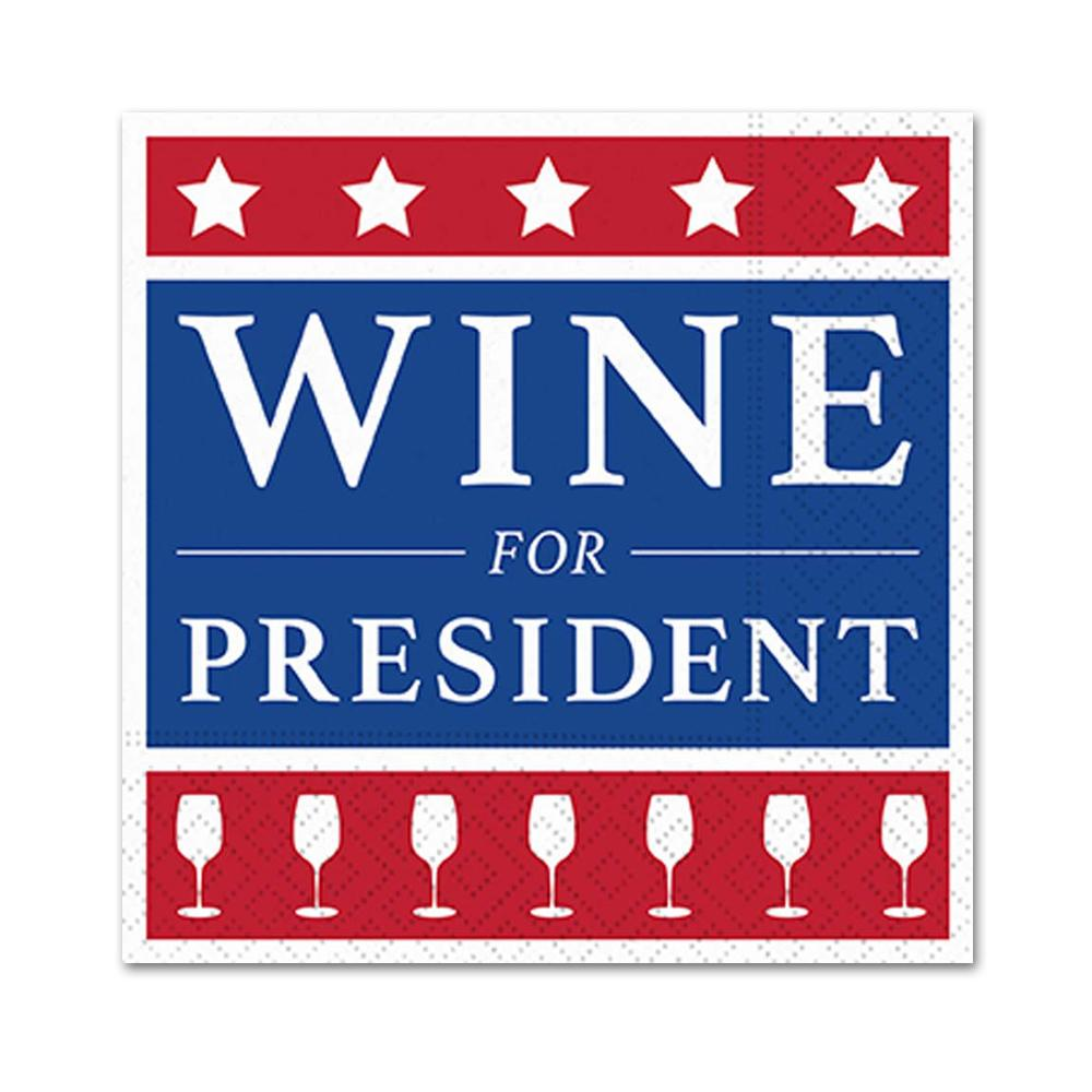 Wine For President Funny Cocktail Napkins