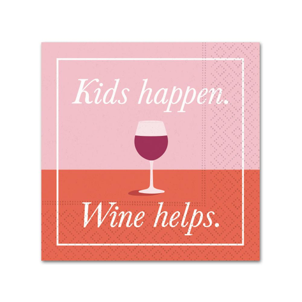 Kids Happen Wine Helps Funny Cocktail Napkins