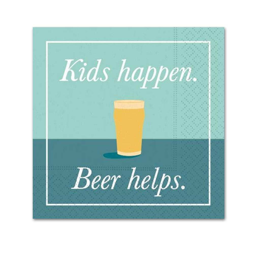 Kids Happen Beer Helps Funny Cocktail Napkins