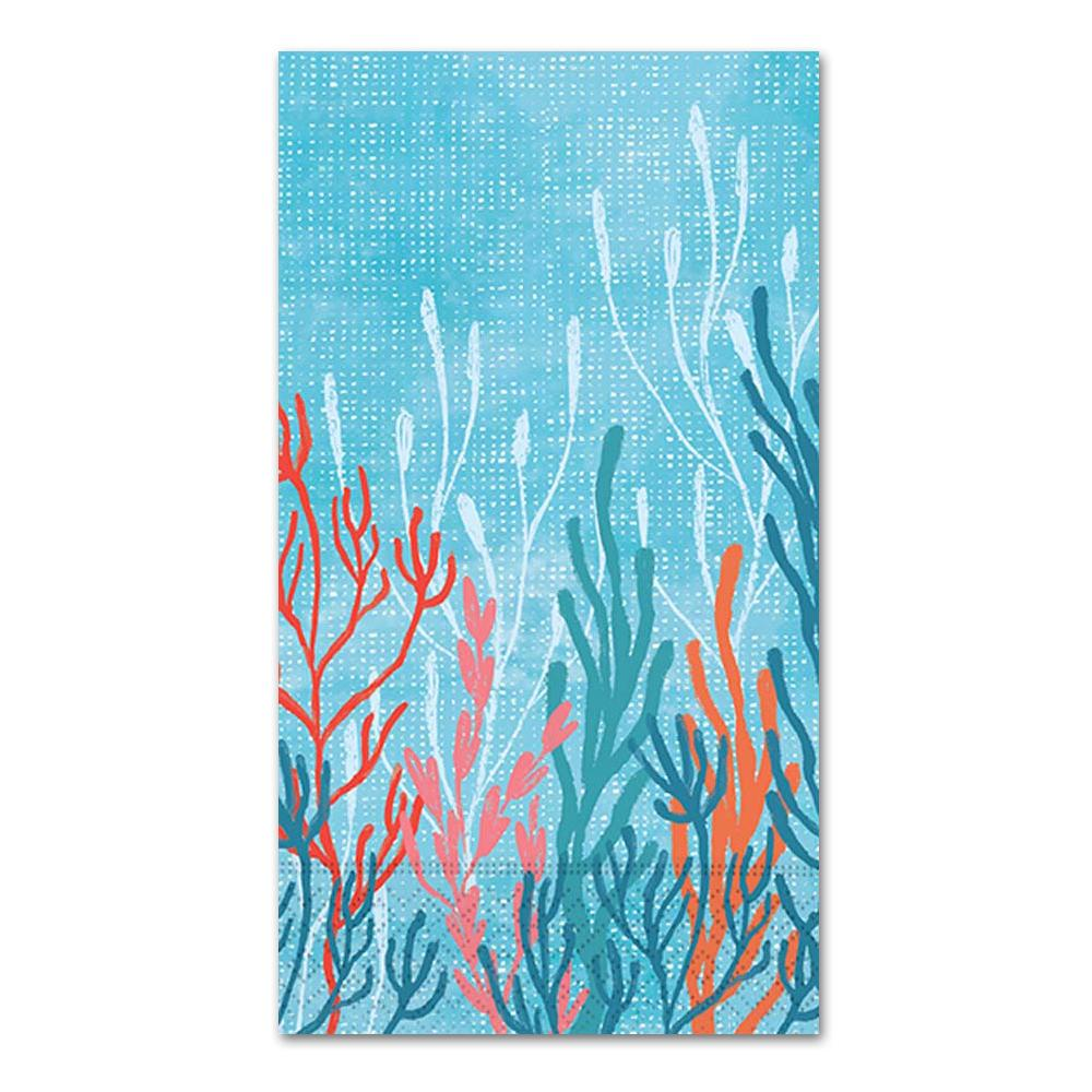 Coral Tranquility Paper Guest Towels - Buffet Napkins