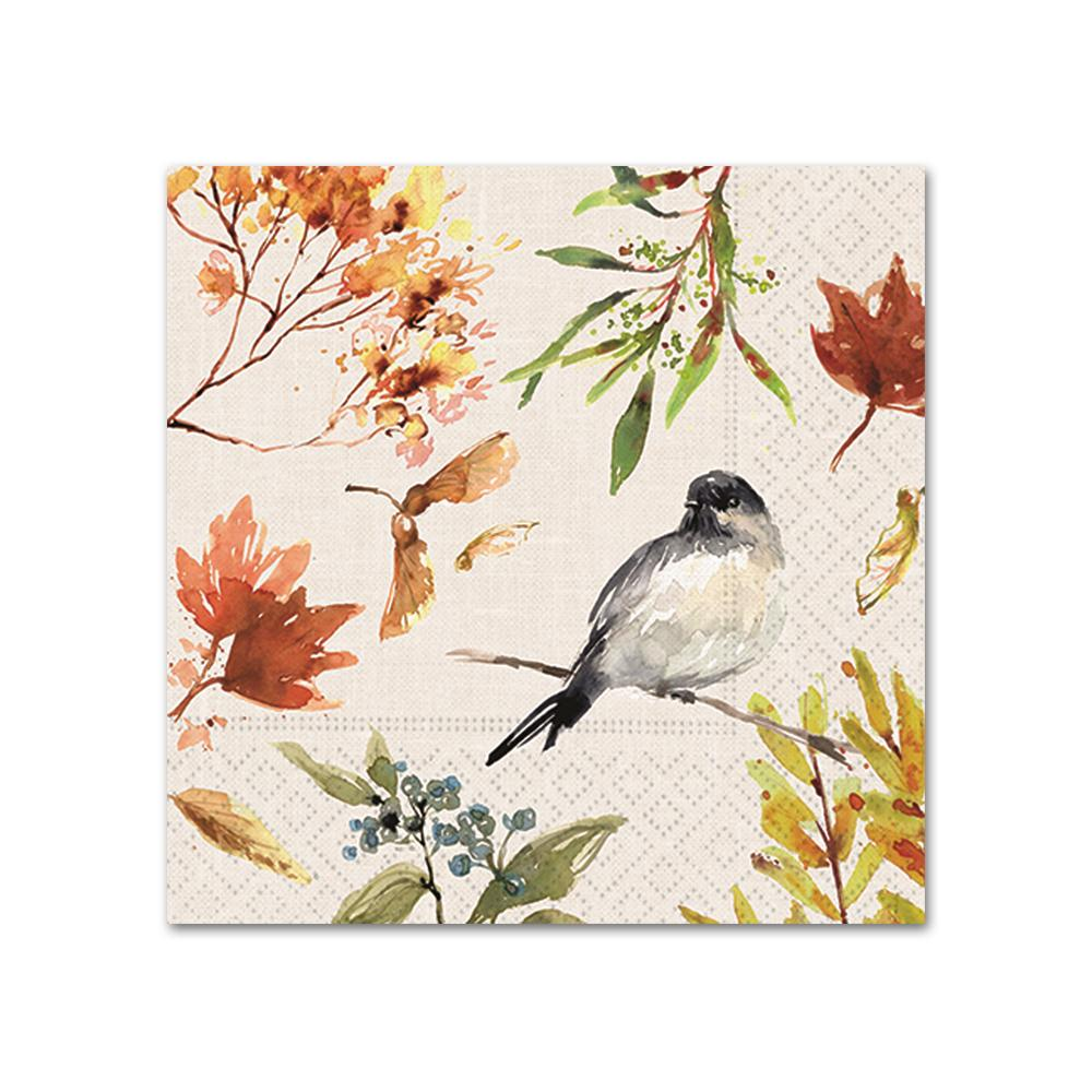 Autumn Chickadee Paper Beverage Napkins