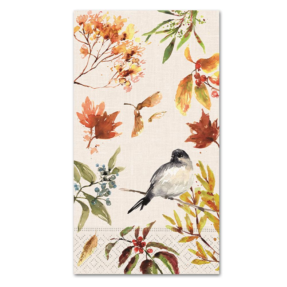 Autumn Chickadee Paper Guest Towels - Buffet Napkins