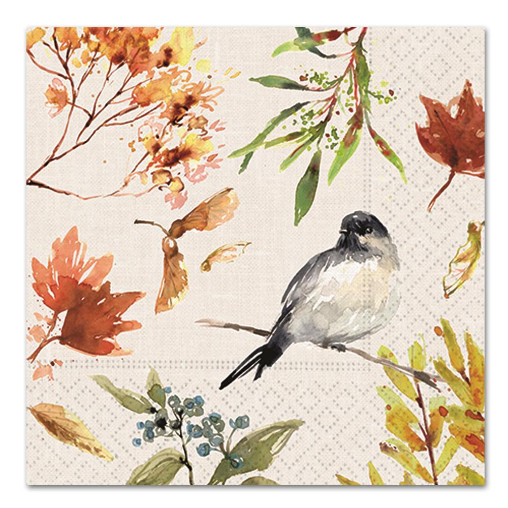 Autumn Chickadee Paper Luncheon Napkins