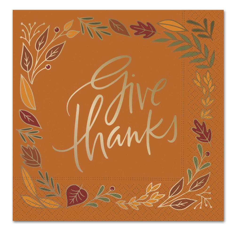 Give Thanks Fall Leaves Gold Foil Paper Luncheon Napkins