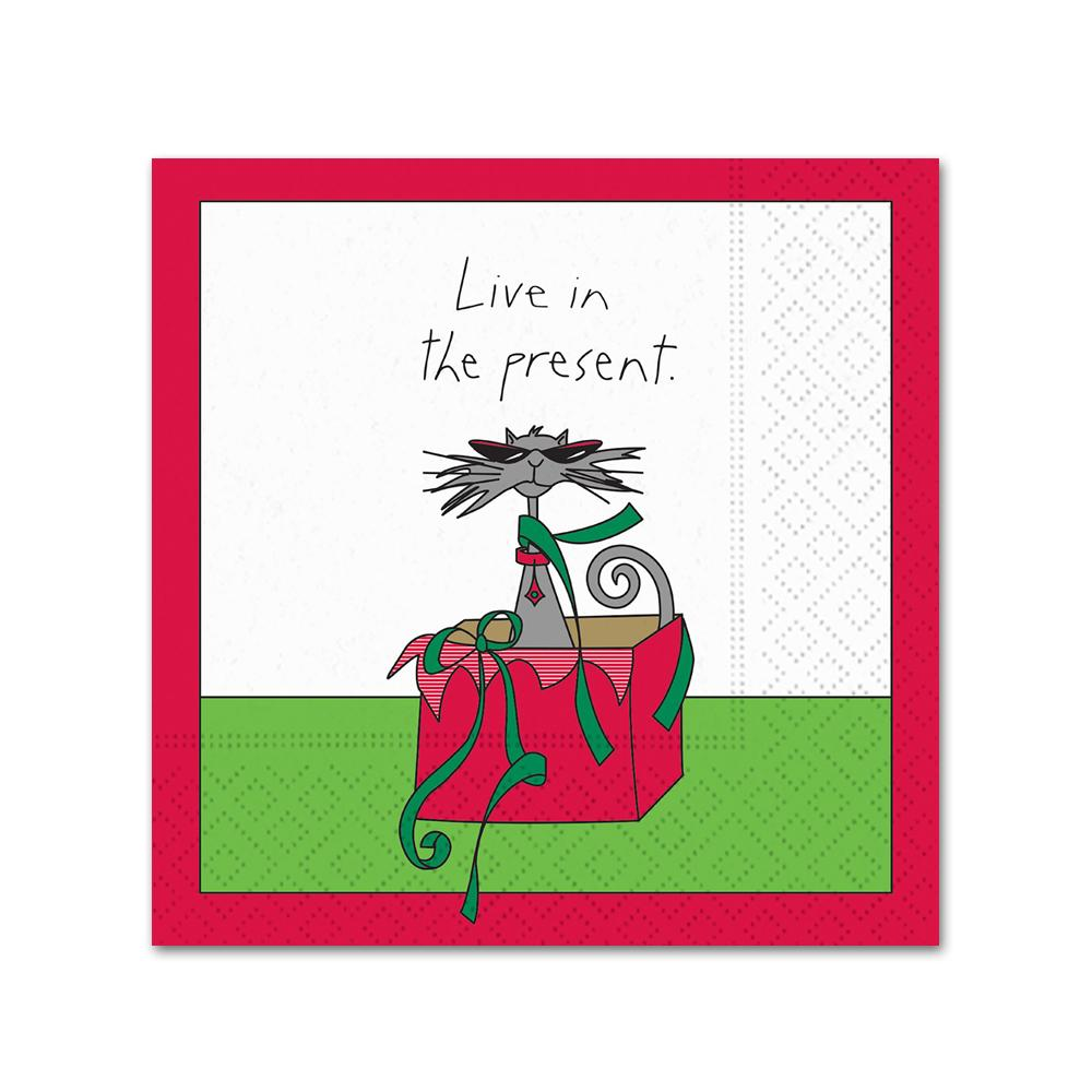 Live in the Present Funny Holiday Cocktail Napkins