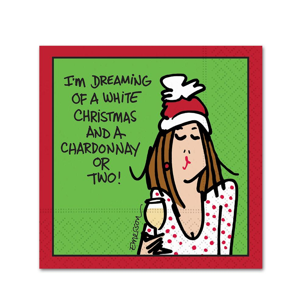 A Chardonnay or Two Funny Christmas Cocktail Napkins